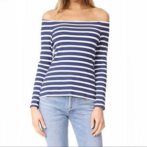 L'AGENCE CYNTHIA Long Sleeve Off Shoulder Top